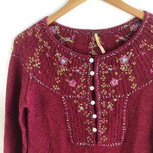 Free People Berry Floral Embroidered Sweater